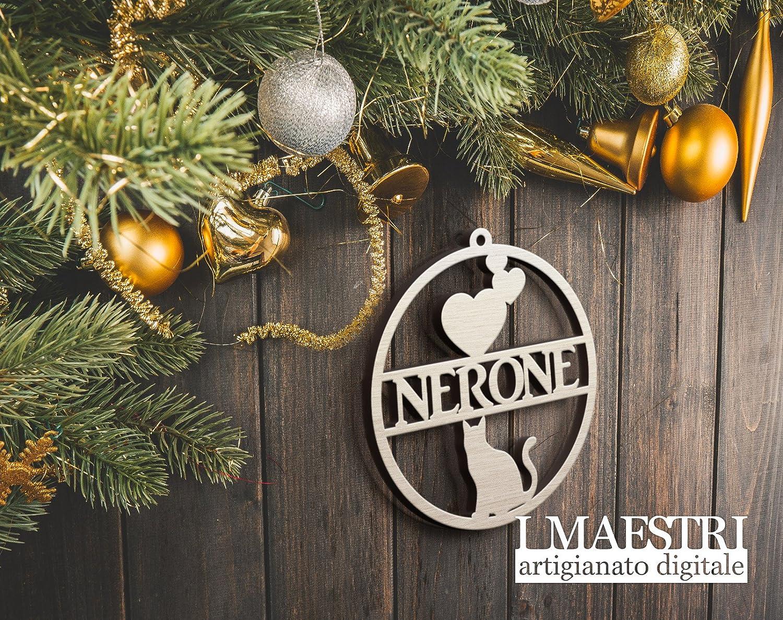 Regalo di Natale personalizzato per il tuo gatto - Decorazioni natalizie con nome per animali domestici