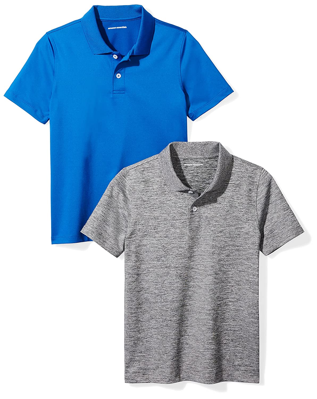 Amazon Essentials Boys' 2-Pack Performance Polo