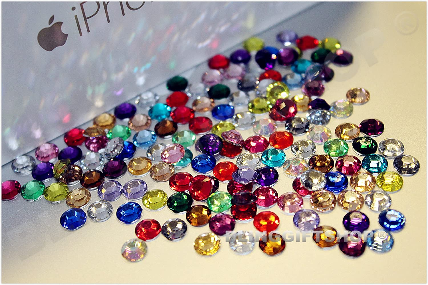 Flat Back 1000 Per Pack Mixed Colours and Sizes Acrylic Gems // Crystals Rhinestones
