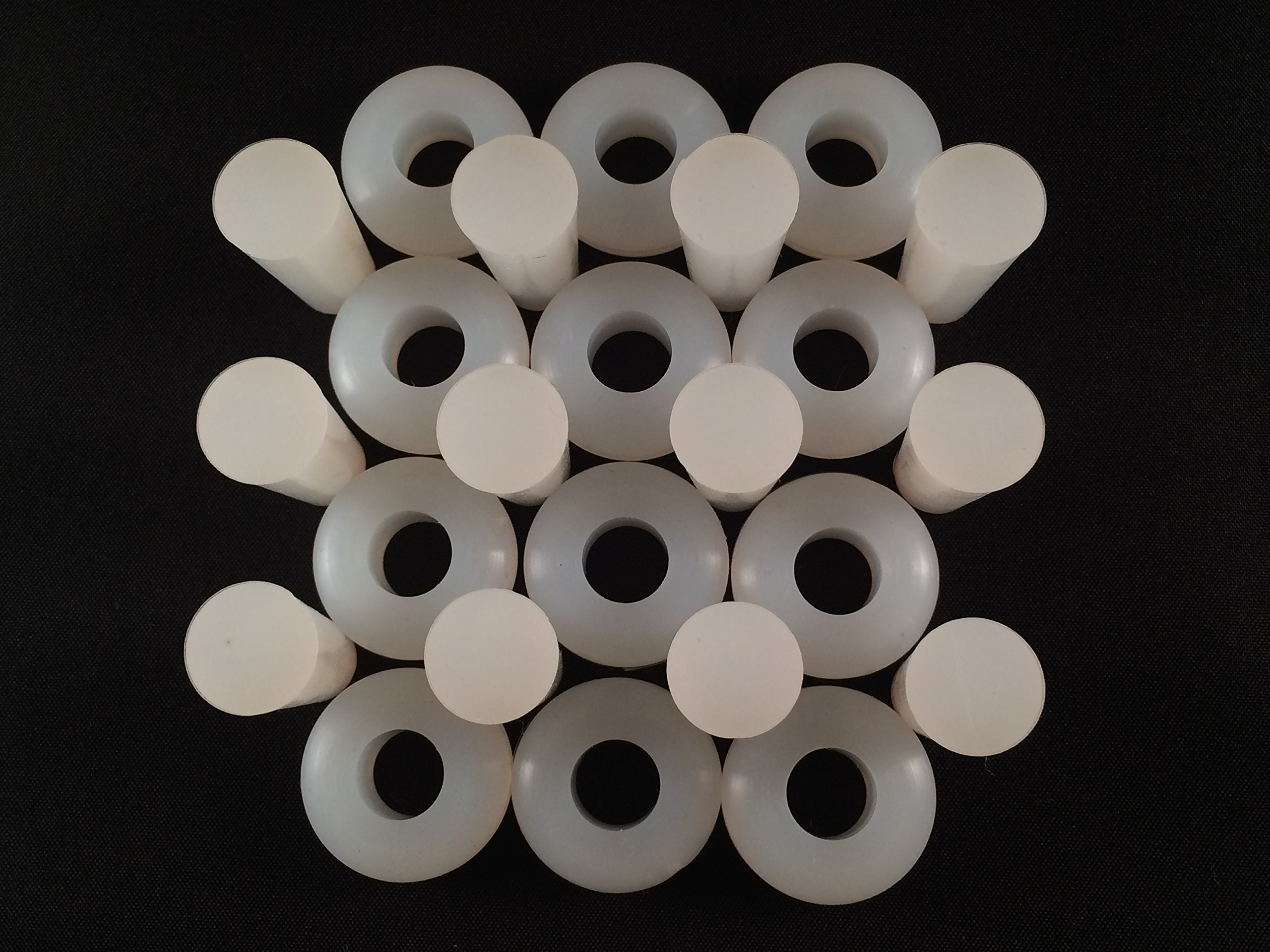 "Homebrew Guys Fermentation Grommets Pack of 12. Food Grade BPA-Free White Silicone Rubber Complete with 12 Stoppers. Best for Airlocks, Fermenting in Jars and Buckets. 3/8"" Center for 1/2"" hole"