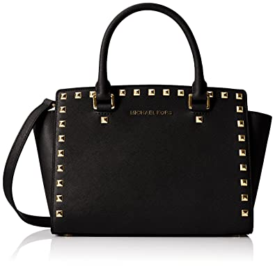 MICHAEL Michael Kors Women's Selma Stud Medium Top Zip Satchel, Black, One  Size