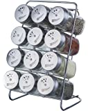 Elemental Kitchen Liberty Stainless Steel Top Spice Jars, 3 Openings, 12-Jar Rack Set