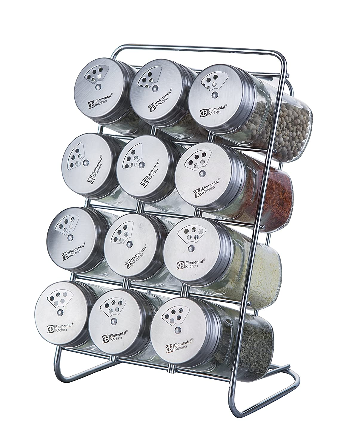 Elemental Kitchen Liberty Stainless Steel Top Spice Jars, 3 Openings, 12-Jar Rack Set ElementalKitchen