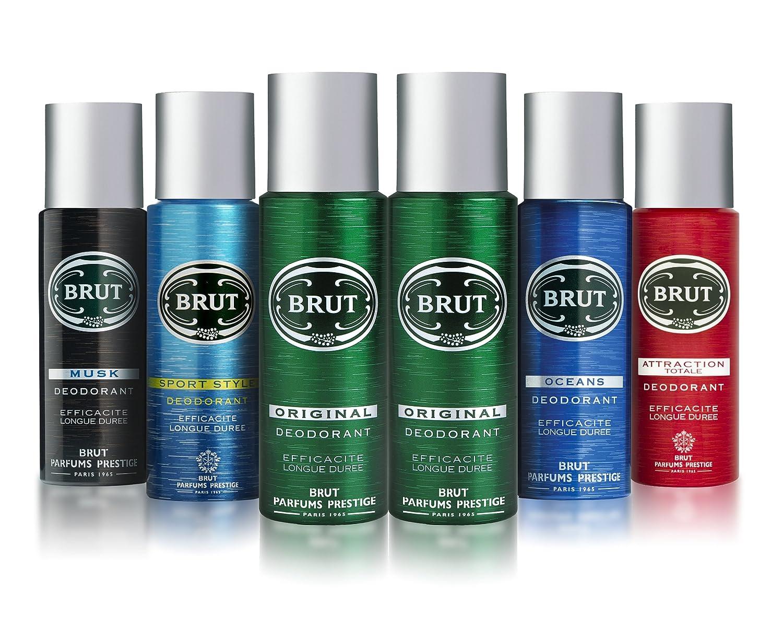 BRUT Body Spray Deodorant Bundle 6 x 200ml (2 x Original 200ml, 1 x Attraction Totale 200ml, 1 x Sport Style 200ml, 1 x Musk 200ml, 1 x Oceans 200ml) 1 x Sport Style 200ml Unilever BVPK6
