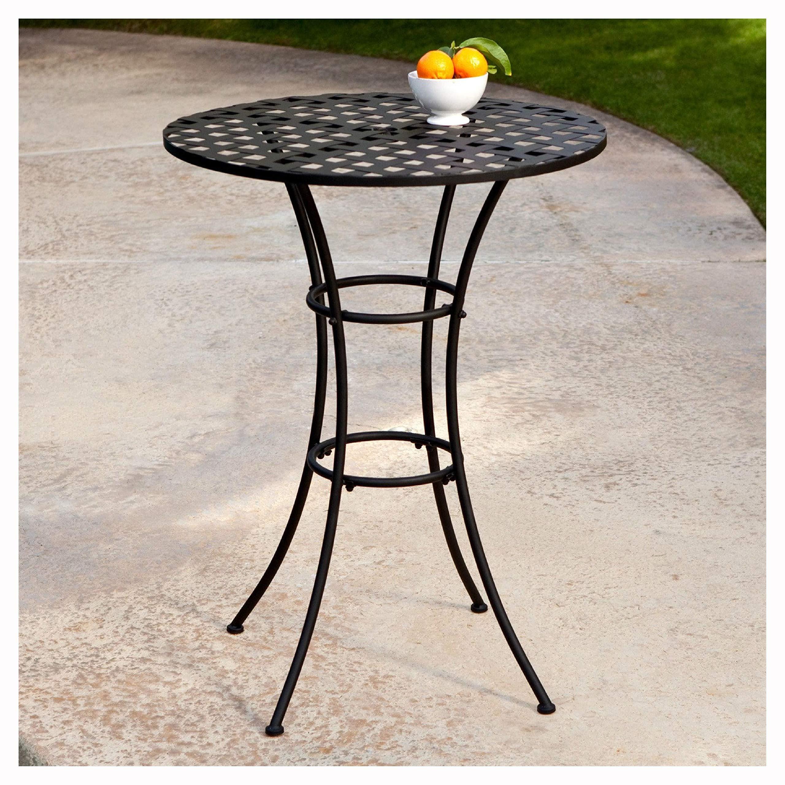 Black Wrought Iron Outdoor Bistro Patio Table with Timeless Round Table top, Black Wrought Iron Outdoor Bistro Patio Table with Timeless Round Tabletop by HEATAPPLY