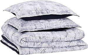 AmazonBasics Comforter Set, King, Blue Printed Chambray, Microfiber, Ultra-Soft