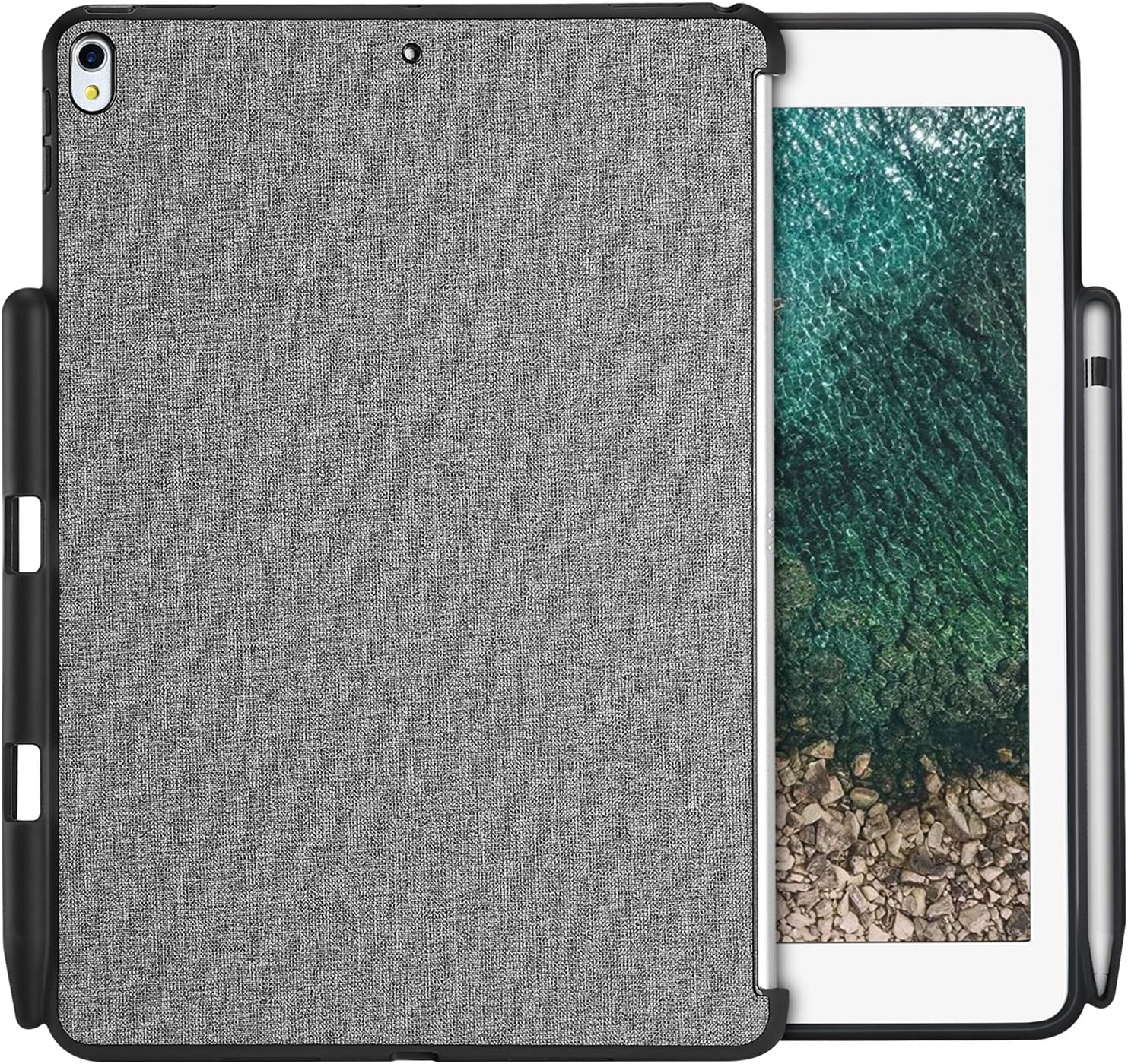 "ProCase iPad Air 10.5"" (3rd Gen) 2019 / iPad Pro 10.5 2017 Case, Companion Back Cover with Apple Pencil Holder for 10.5"" iPad Air/iPad Pro 10.5, Work with Apple Smart Keyboard and Smart Cover -Gray"