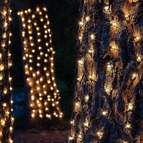 Outdoor Trunk Lights, Outdoor String Lights Tree Lights Trunk Wrap Lights Tree Wrap Christmas Lights 2 x 8 , 100 Lights, Clear Lights, Green Wire