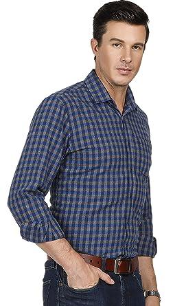 770fb93d PAUL JONES Mens Button Down Long Sleeve Checkered Dress Shirt Slim Plaid  Shirts Size S(