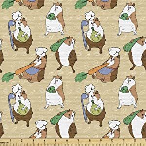 Lunarable Guinea Pig Fabric by The Yard, Chef Teddy Pigs Carrying Carrot Onion Ladle and Green Beans on Doodled Backdrop, Decorative Fabric for Upholstery and Home Accents, 3 Yards, Brown Camel