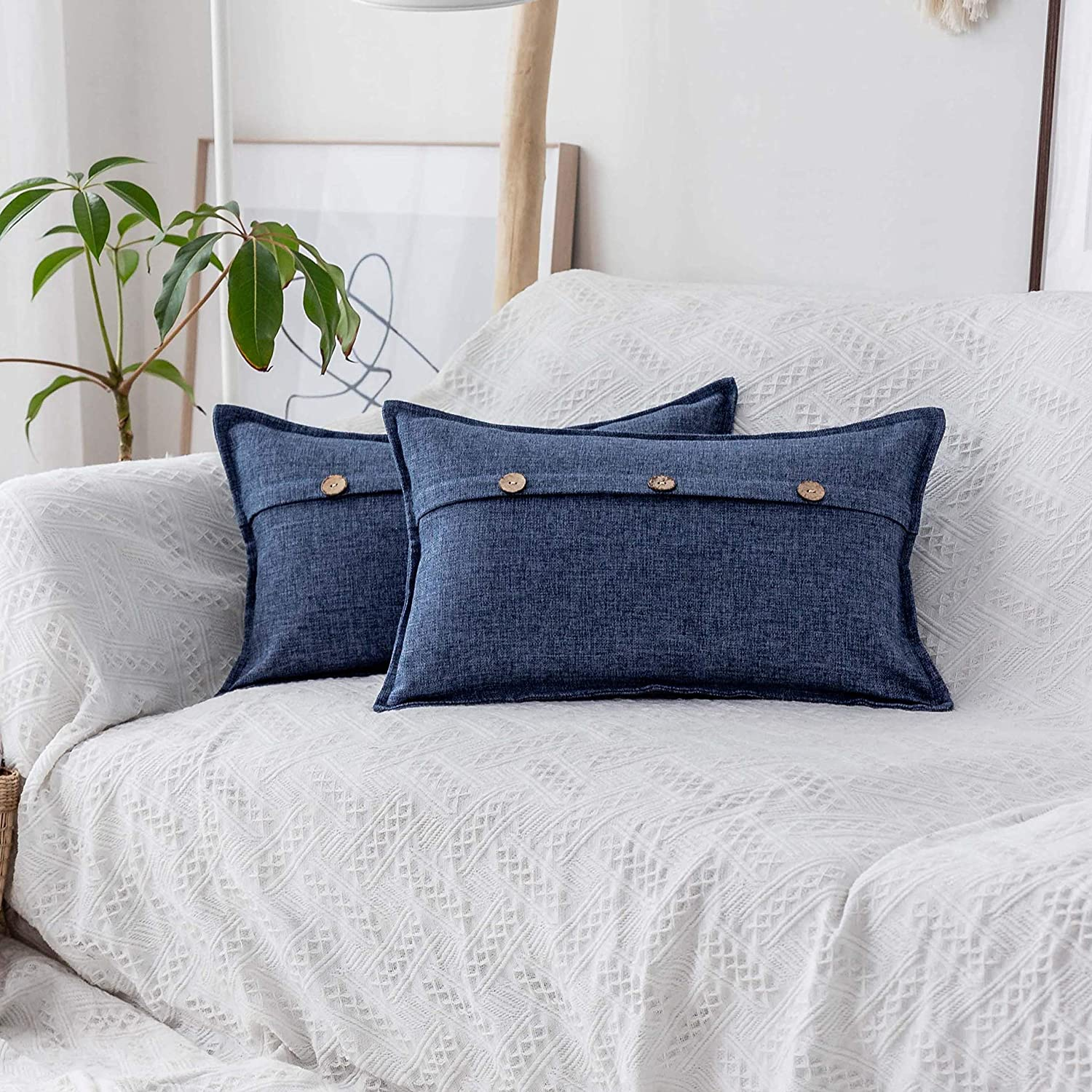 Home Brilliant Linen Throw Pillow Covers Triple Button Decorative Pillowcases Oblong Cushion Covers for Sofa Couch Bed, 12x20 inch (30x50cm), Navy Blue