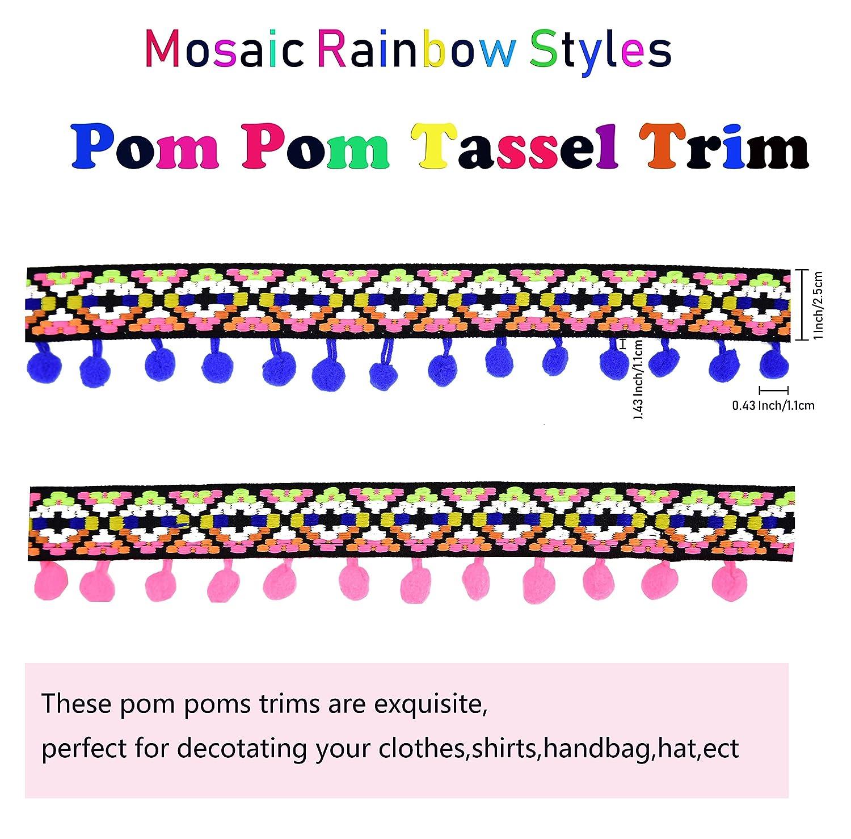 Blue Ancefine Rainbow Pom Poms Tassel Trim Ball Fringe Sewing Fabric for Handwork Craft Decoration,5 Yards