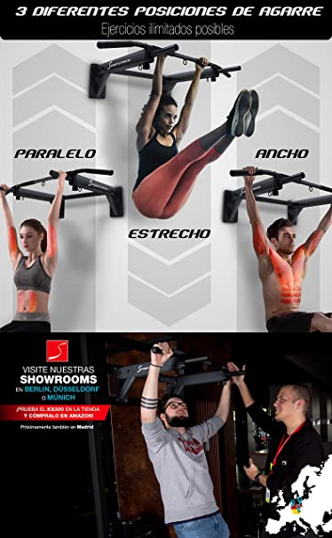 Sportstech Barra de dominadas para Pared KS300 4en1, 3 Ranuras para TRX & Bolsa de Boxeo, 6 empuñaduras Antideslizantes,8 Tacos Resistentes incluidos