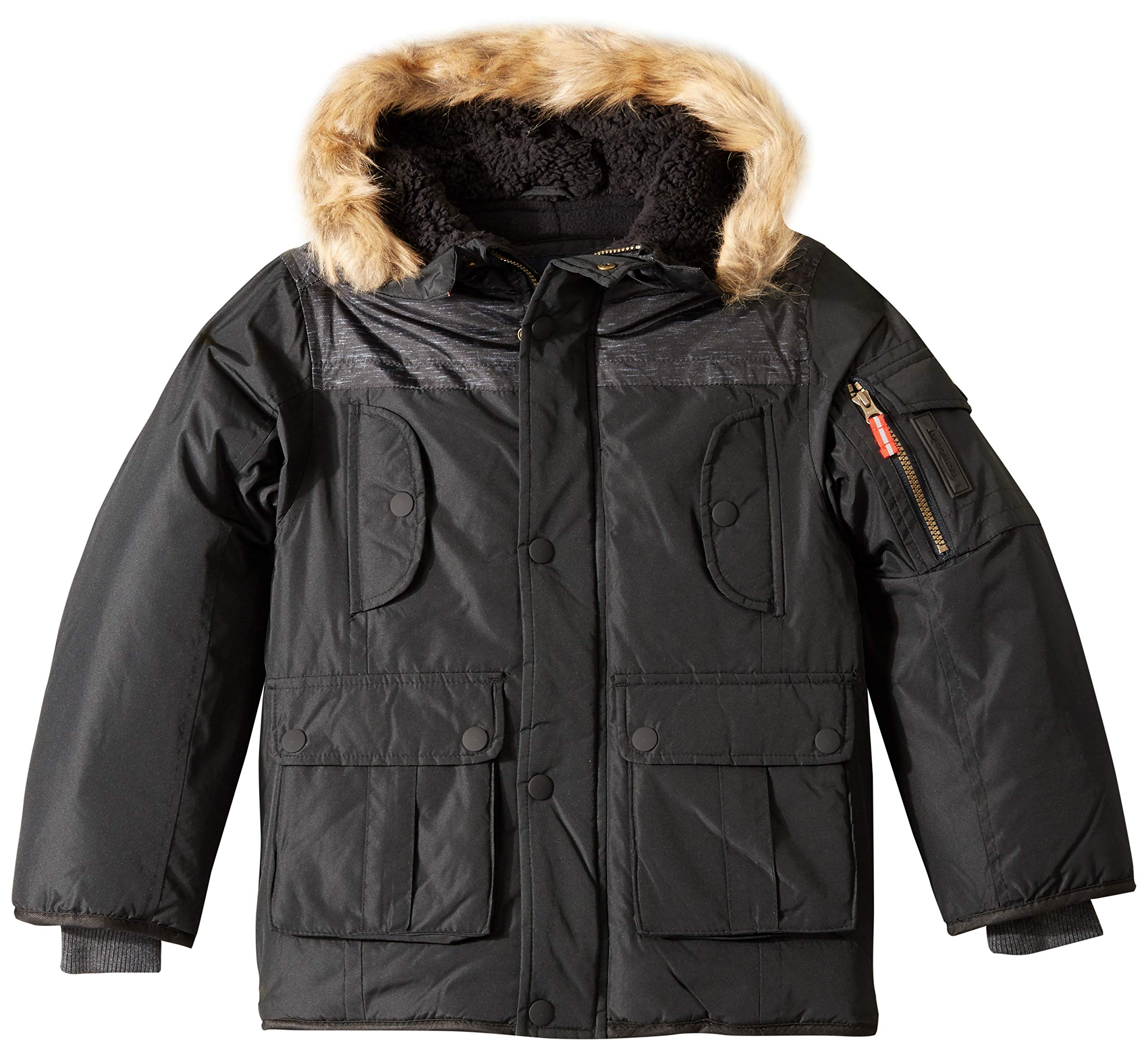 London Fog Boys' Big Warm Winter Coat Parka with Cozy Trimmed Hood, Real Black, 8
