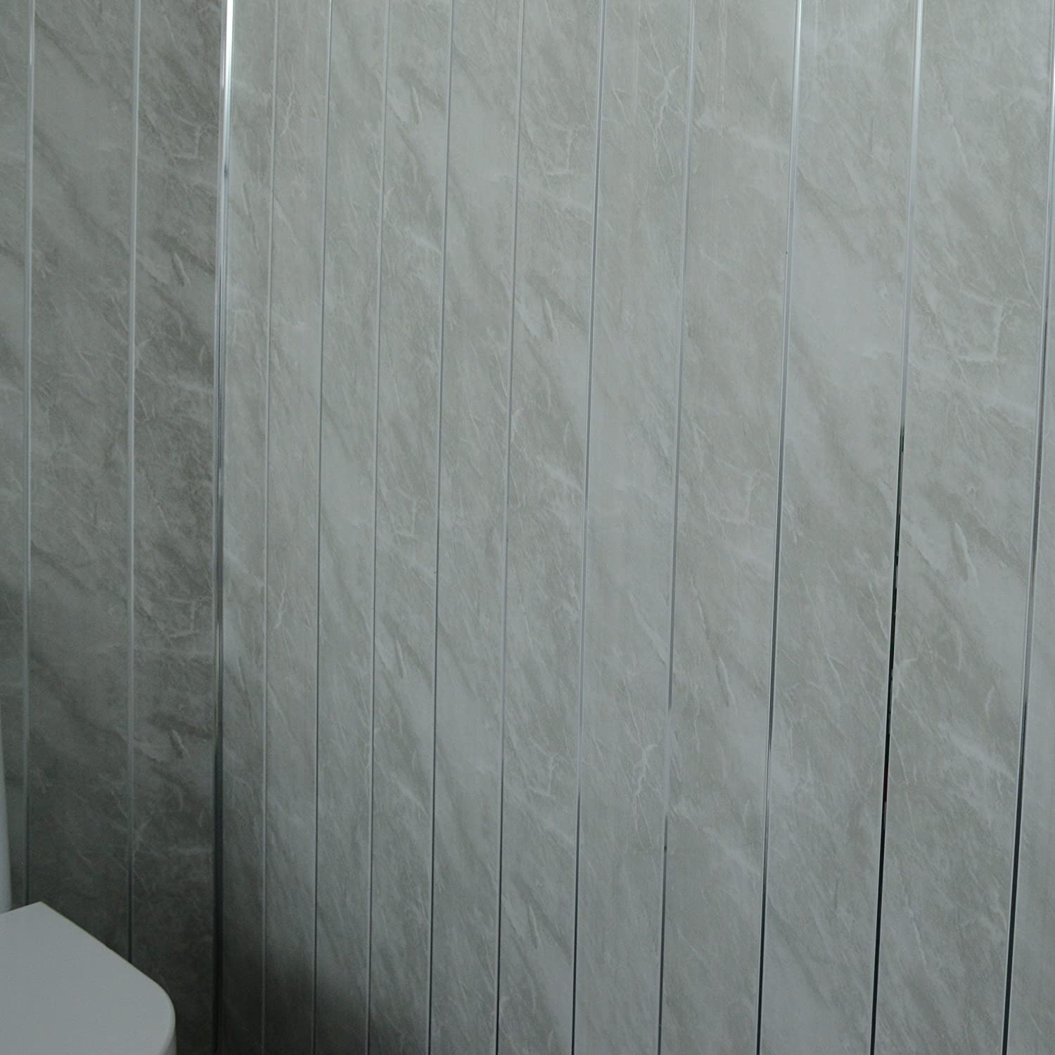 pvc plastic 100/% waterproof 20 panels Claddtech Grey marble wall panels with chrome silver strips wet walls in shower Cladding panels splashbacks used in kitchen office ceiling and walls