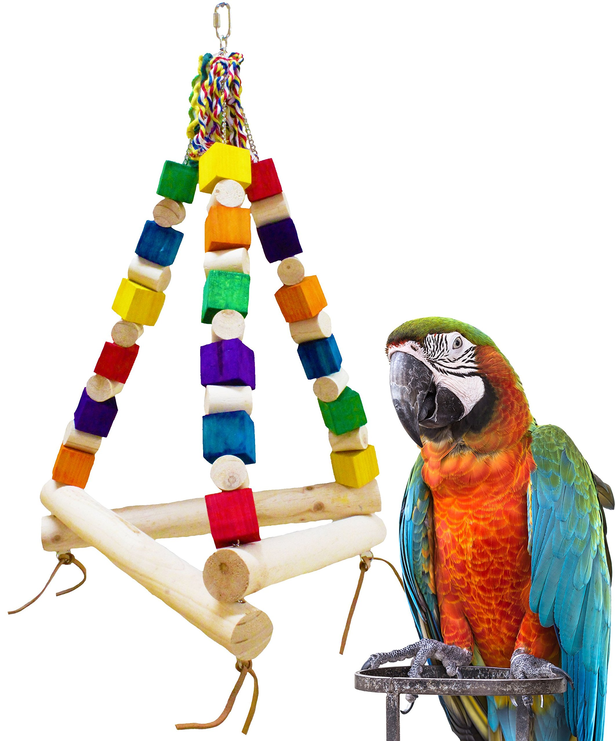 Bonka Bird Toys 1297 Jumbo Swing Tri Parrot Bird Cage Toys Cages Toy Chew Amazon Macaw Cockatoo