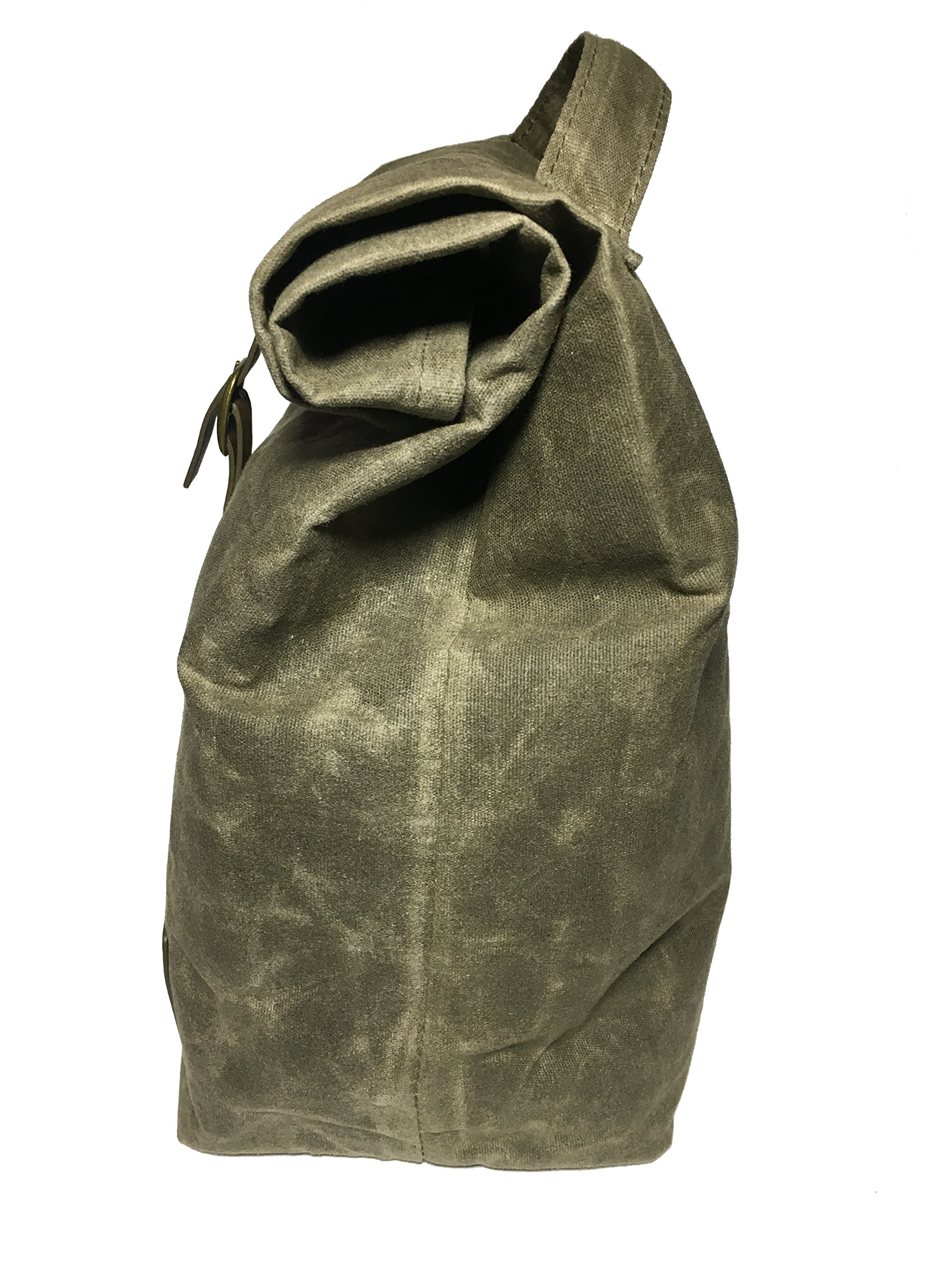 85607c100988 Details about Insulated Waxed Canvas Lunch Bag For Men, Women With Handle  and Genuine Leather