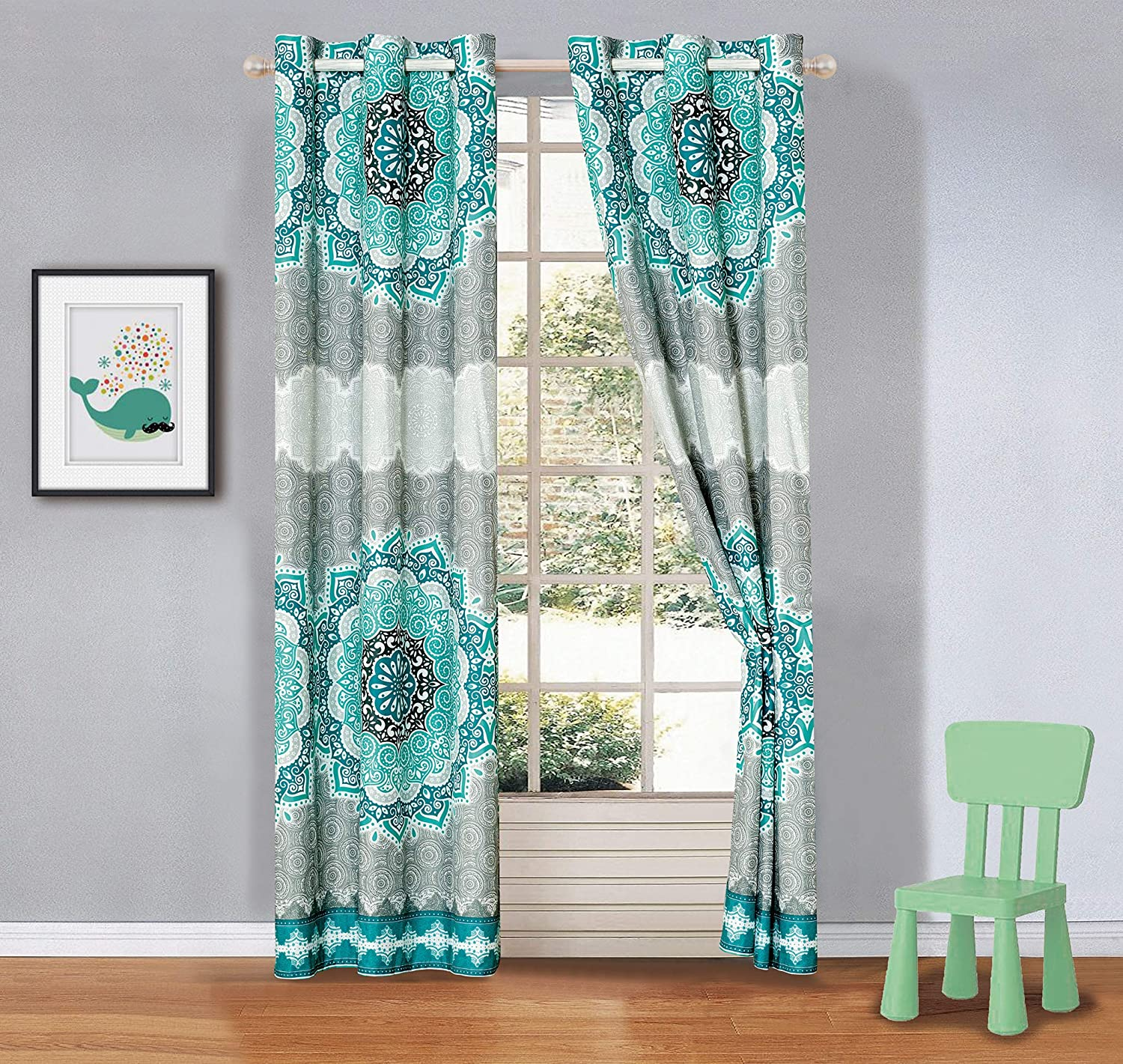Mk Collection 2 Panel Curtain Set Aqua Turquoise Coastal Plain Grey Green White Elegant Design # Oslo Aqua