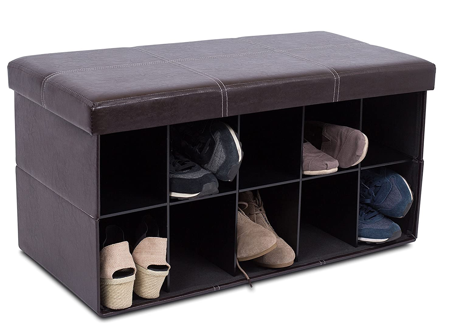 BIRDROCK HOME Storage Ottoman Bench with Shoe Storage – 31.5 x 16 – Strong and Sturdy – Upholstered Cushioned Seat – Shoe Organizer Shoe Rack Foot Stool – Brown