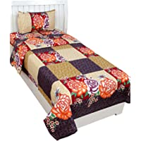 BSB Trendz 3D Designer Printed 180TC Polycotton Single Bedsheet with 1 Pillow Cover