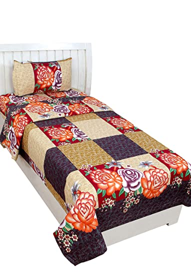 BSB Trendz 3D Printed 180TC Polycotton Bedsheet with 1 Pillow Cover, Single, Black
