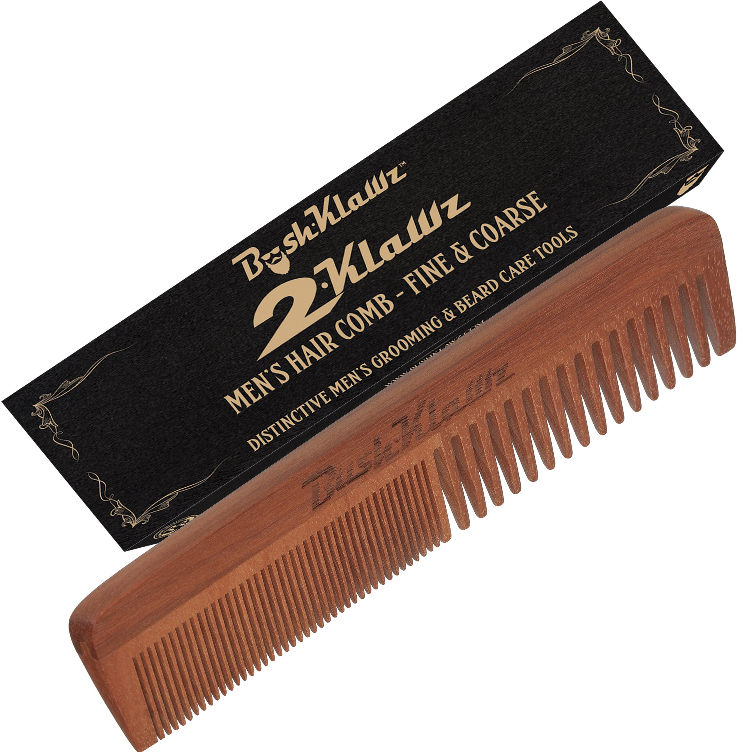 2Klawz Hair Comb for Men - Hair and Beard Comb with Wide and Fine Teeth Full Size 7'' Combination Comb - Best Man Comb Grooming Gift Special Gift For Mens comb Clark Kent Comb by BushKlawz