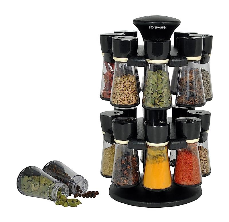 Floraware 16-Jar Revolving Spice Rack (Black)