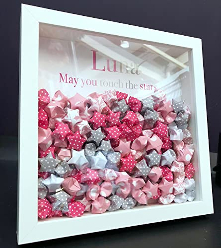 05a9df23db8f Personalized Paper Origami Pink and Grey Lucky Stars Baby Girl Name  Shadowbox Frame Custom Art Newborn Baby Shower Nursery Wall Art Gift   Amazon.co.uk  ...