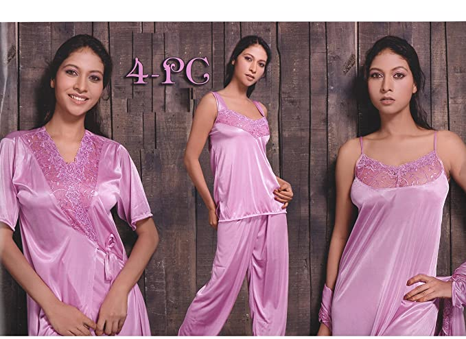 64154546a6 Indiatrendzs Pink Soft Silk Satin Nighty 4 pc Sets Bedroomwear -Free Size