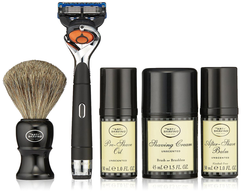 アートオブシェービングレキシントンコレクションパワーシェーブセット: 髭剃り + ブラシ + プレシェーブオイル + シェービングクリーム + アフターシェーブバーム - バッテリーなし 5pcs   B01LWOUDBX