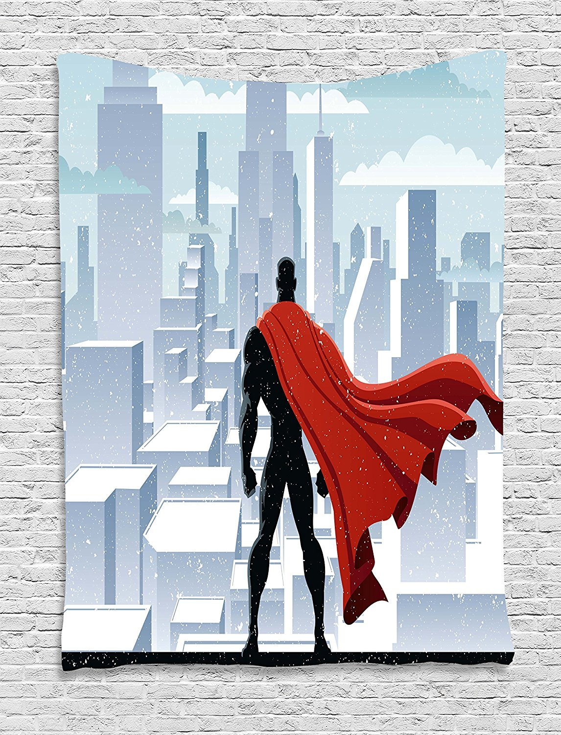 Superhero Tapestry, Hero Watching over City in Snowy Winter Savior Justice Urban Design, Wall Hanging for Bedroom Living Room Dorm, 60 W X 80 L Inches, Pale Blue Orange Black