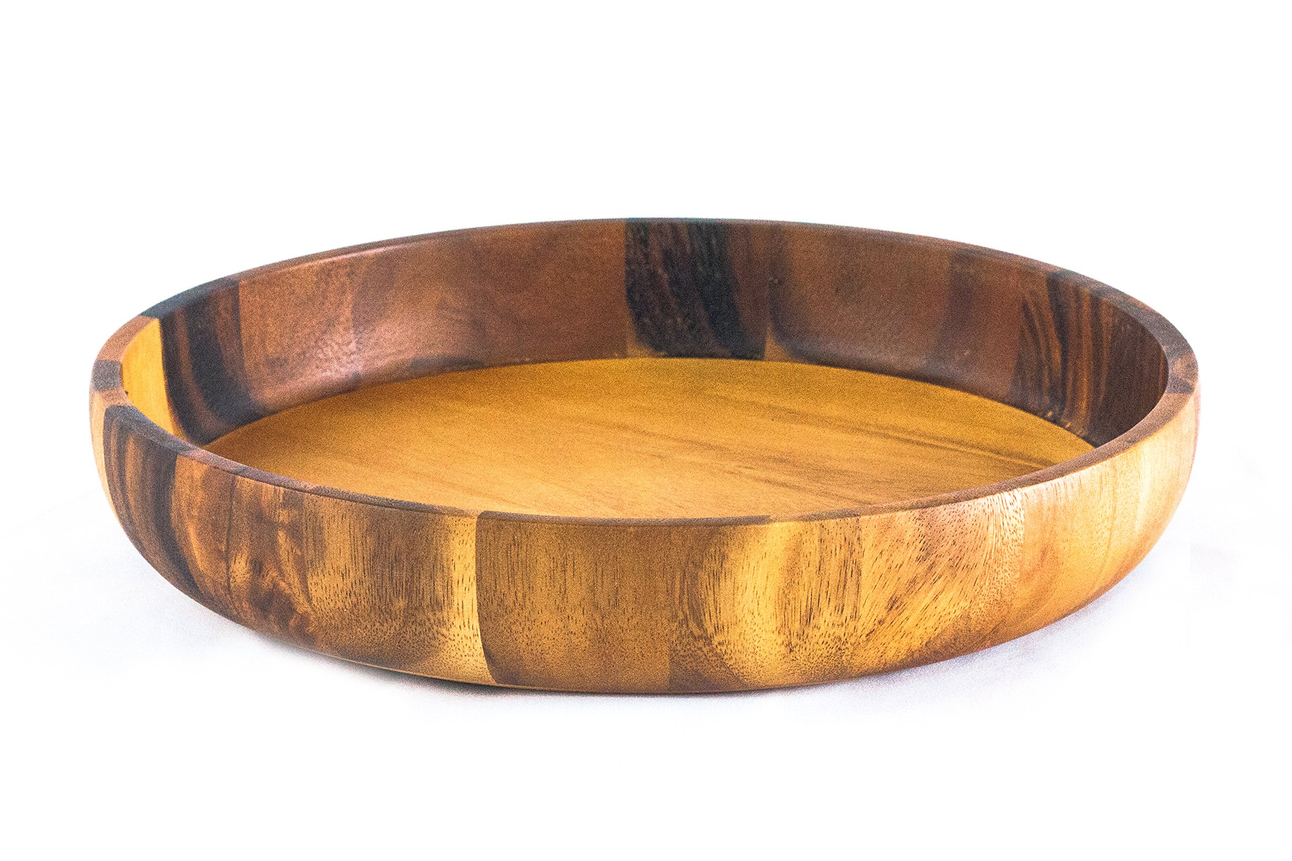 Falin & Lenin's Wood Serving Plate, Crafted Natural Wood Round Serving Tea Tray Salad,Fruit Dessert Cake Snack,Large Platter, 14'' Diameter x 2.4'' Height