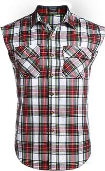 COOFANDY - Camisa para hombre, sin mangas, a cuadros, de corte ajustado, de algodón, sin mangas, fácil de planchar Ydl3 XL: Amazon.es: Ropa y accesorios