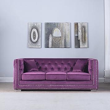 Modern Tufted Velvet Fabric Sofa With Nailhead Trim (Purple)