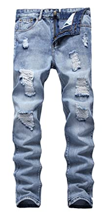 36d1610f83a FEESON Men's Ripped Slim Fit Straight Denim Jeans Vintage Style with Broken  Holes 05 W28