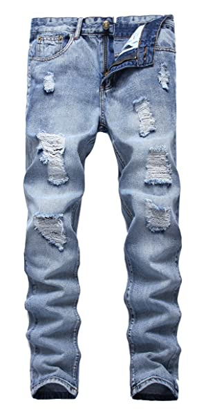 FEESON Mens Ripped Slim Fit Straight Denim Jeans Vintage Style with Broken Holes