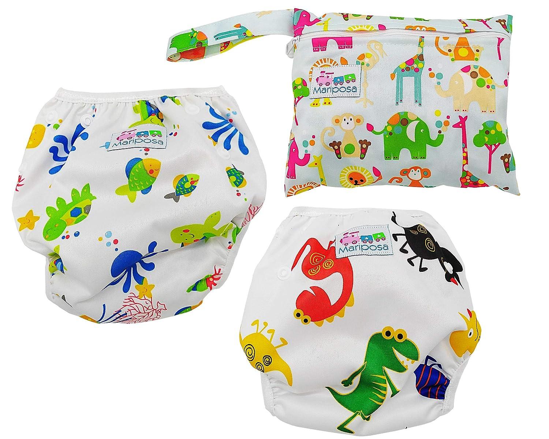 MARIPOSA | Costume contenitivo bambino e neonato (0-3 anni) Regolabile e Lavabile per piscina e mare - Confezione da 2 con borsetta contenitiva impermeabile