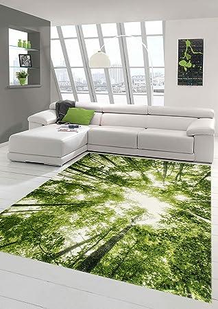 Traum Designer und Moderner Teppich Kurzflor Wohnzimmer Teppich Wald ...