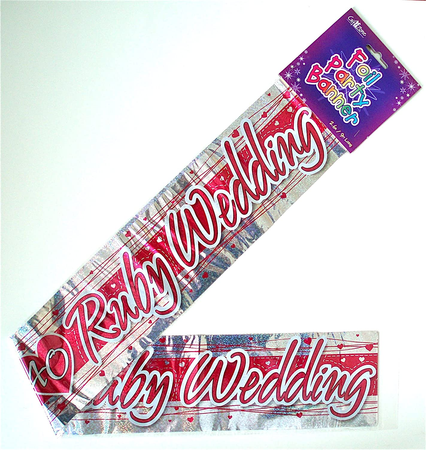 RUBY 40TH WEDDING ANNIVERSARY FOIL PARTY WALL DECORATION BANNER ...