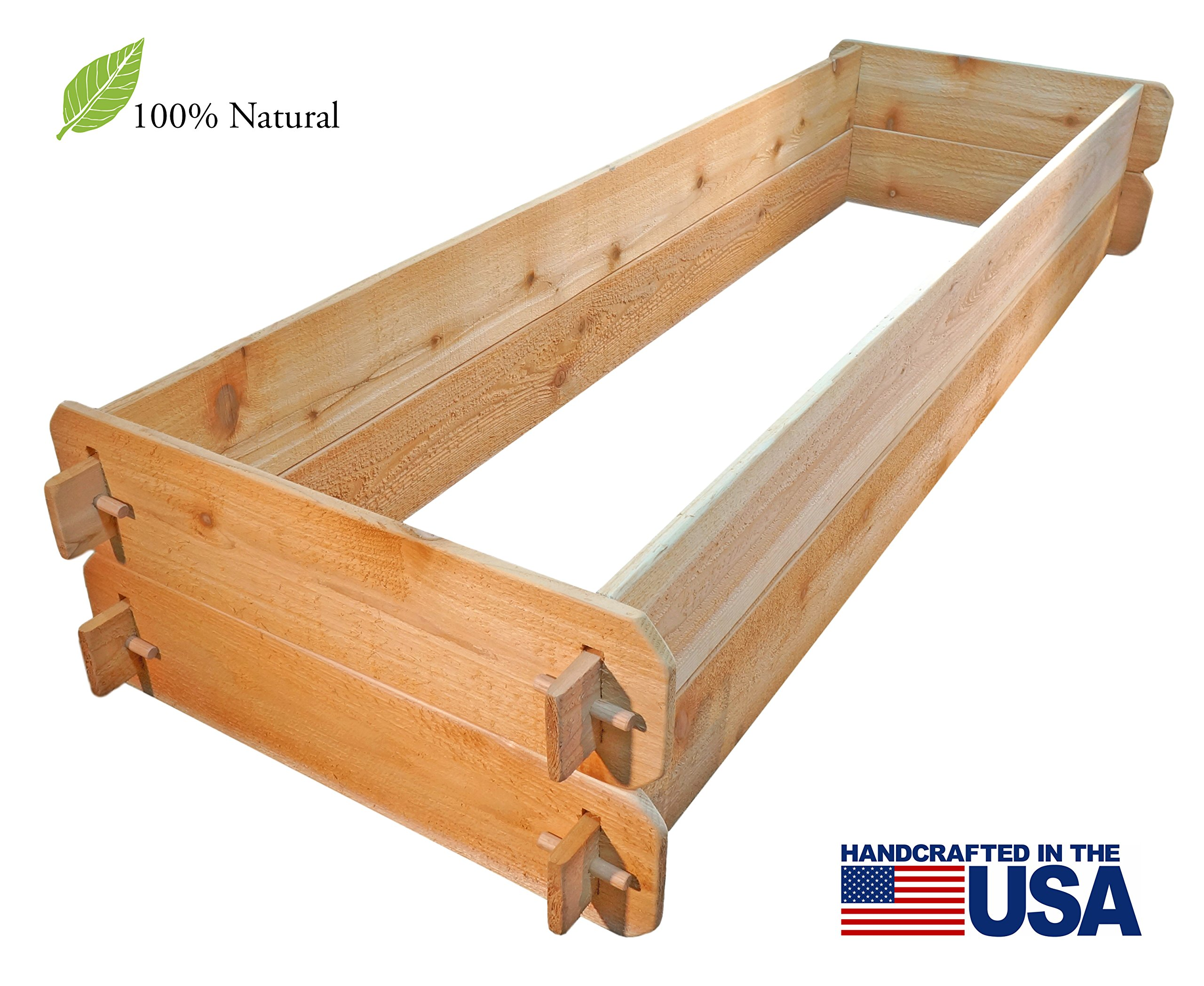 """Timberlane Gardens Raised Bed Kit Double Deep (Two) Western Red Cedar with Mortise and Tenon Joinery, 24"""" W x 72"""" L 5 <p>Raised garden bed kit dimensions: 2 feet wide x 6 feet long (6 inches deep) and 2 feet wide x 6 feet long (6 inches deep). Depth is 12 inches when stacked. 5/8"""" thick. Inner (planting) dimensions are a bit smaller due to the mortise & tenon joints. Raised Garden Bed Kit Proudly Made in Homer Glen, Illinois USA. Constructed of Select Western Red Cedar. Aromatic and Naturally Insect & Rot Resistant. Handcrafted Mortise & Tenon Joinery. The Strongest Corner Joints Available. Easy to Assemble in Seconds, No Tools Required. Perfect for a Children's Garden. Splinter Free. 100% Natural and Chemical Free. Safe for Vegetables and Best for Organic Gardening.</p>"""