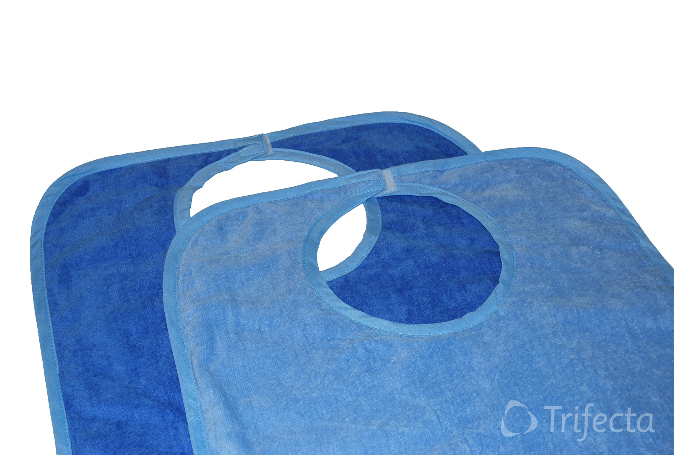 Cotton Terry Adult Bib - Reusable Machine Washable 18''x 36'' (Pk/2 Light/Dark)