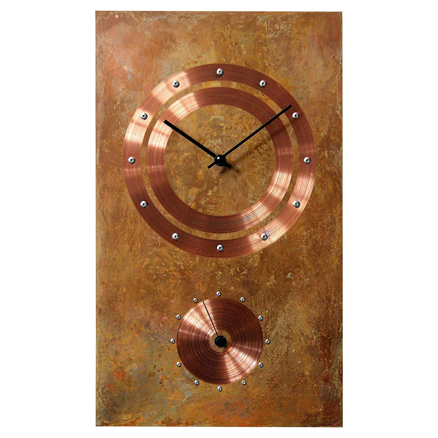 Large Rectangle Copper Rustic Wall Clock 20-inch - Silent Non Ticking Gift for Home/Office/Kitchen/Bedroom/Living Room