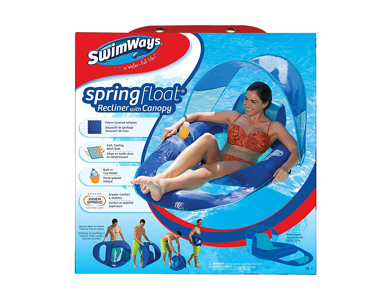 Amazoncom Swimways Spring Float Recliner Pool Lounger with Canopy
