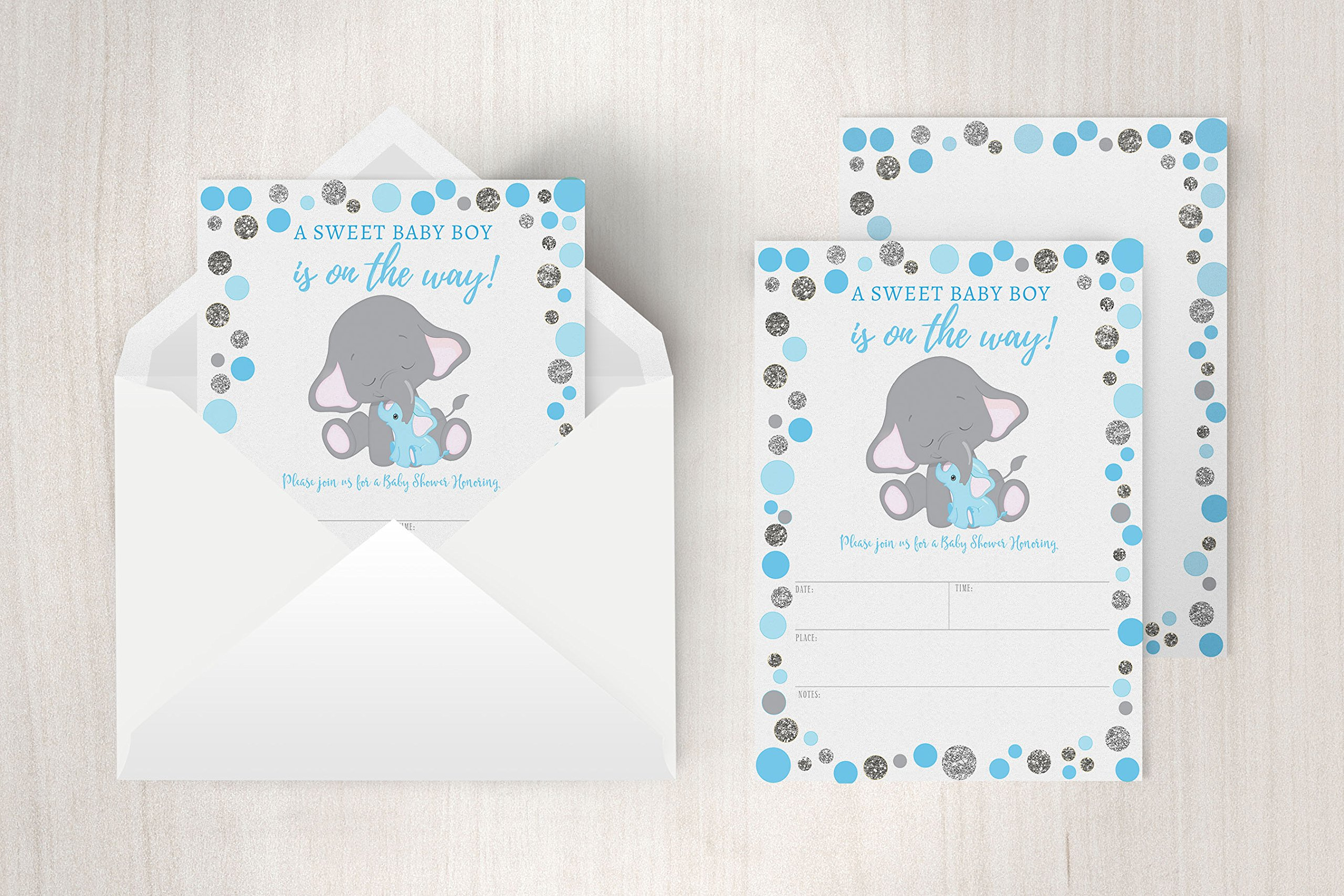 Boy Elephant Baby Shower Invitation, Blue and Silver Elephant Baby Shower, Jungle Baby Shower Invite, It's a Boy, 20 Fill in Invitations and Envelopes by Your Main Event Prints (Image #3)