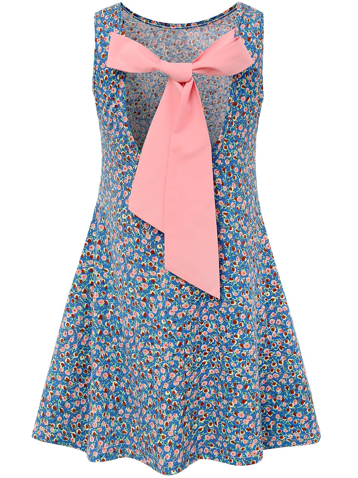 Bonny Billy Girls Backless Bow Cotton Summer Floral Dress Size 10 Blue