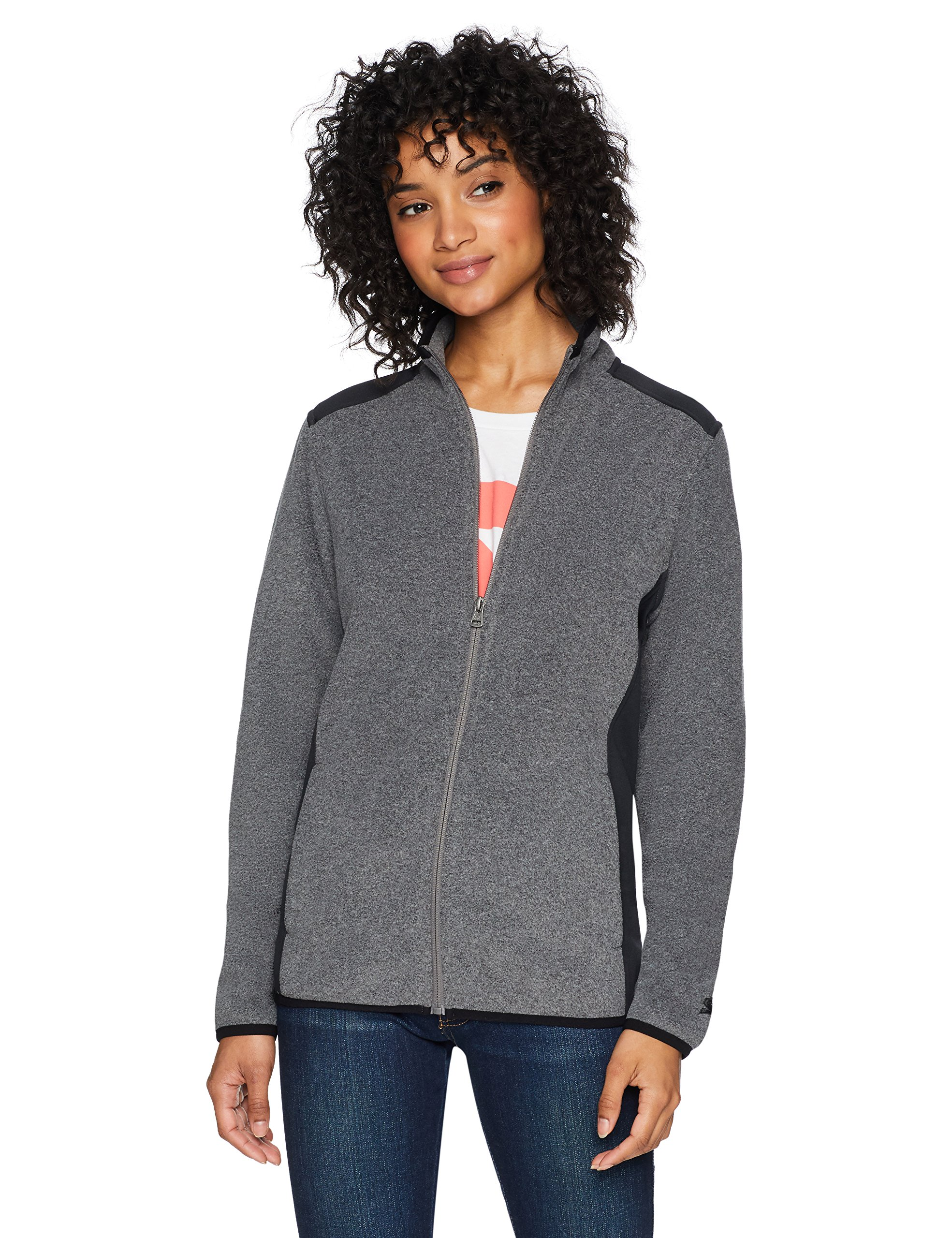 Starter Women's Polar Fleece Jacket, Prime Exclusive, Vapor Grey Heather, Extra Large
