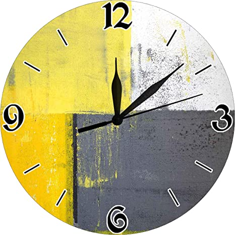 Amazon Com Getjonesright Grey And Yellow Decorative Wall Clock Street Modern Rock Abstract Square Silent Wall Clock Best Gift For Loved Ones Friends Couples 10 Inches Home Kitchen