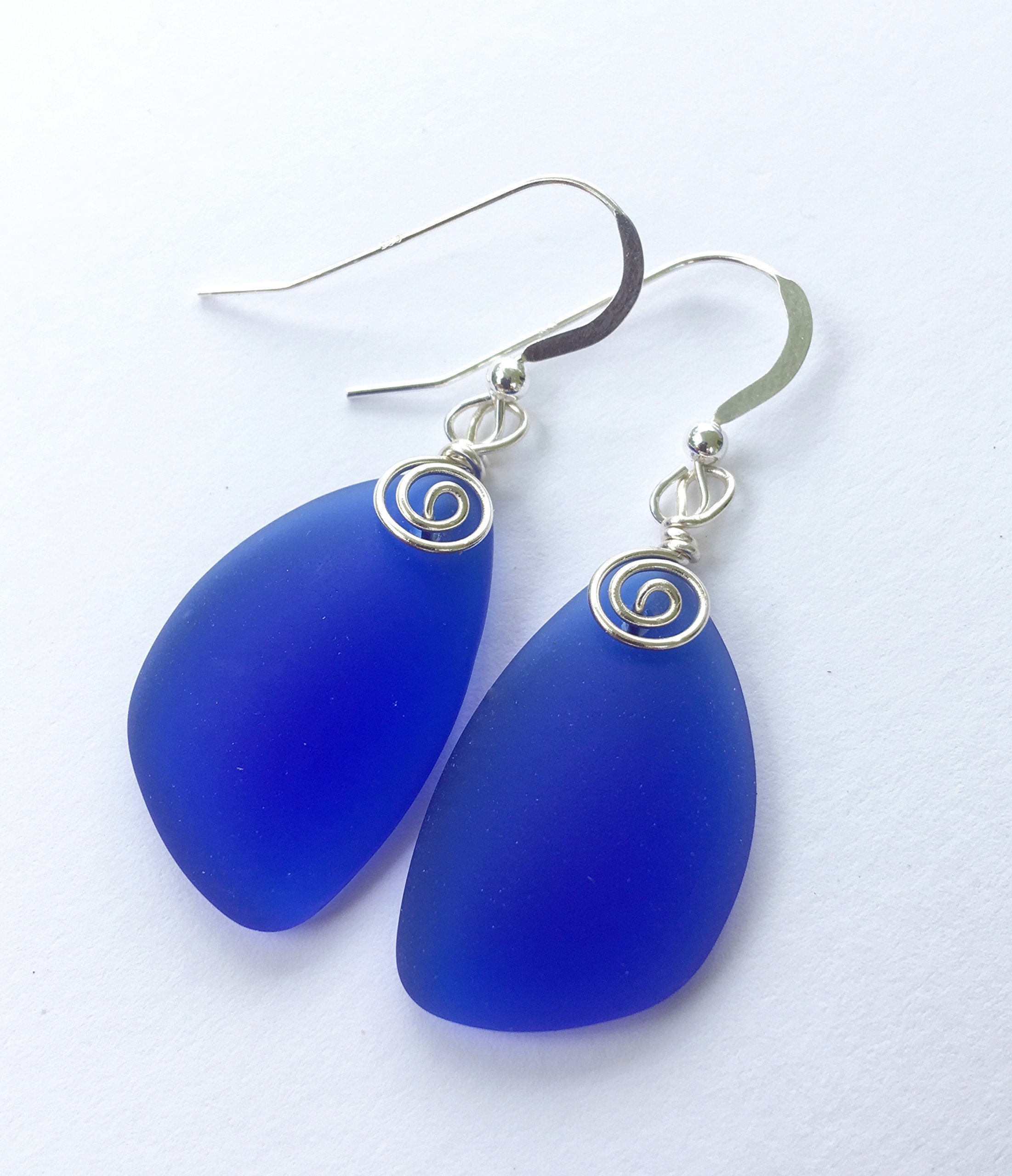index blue lavender glass earrings