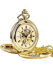 Treeweto - Orologio da taschino meccanico dorato in stile antico, con ingranaggi a vista e quadrante con numeri romani, corredato di catena per appenderlo