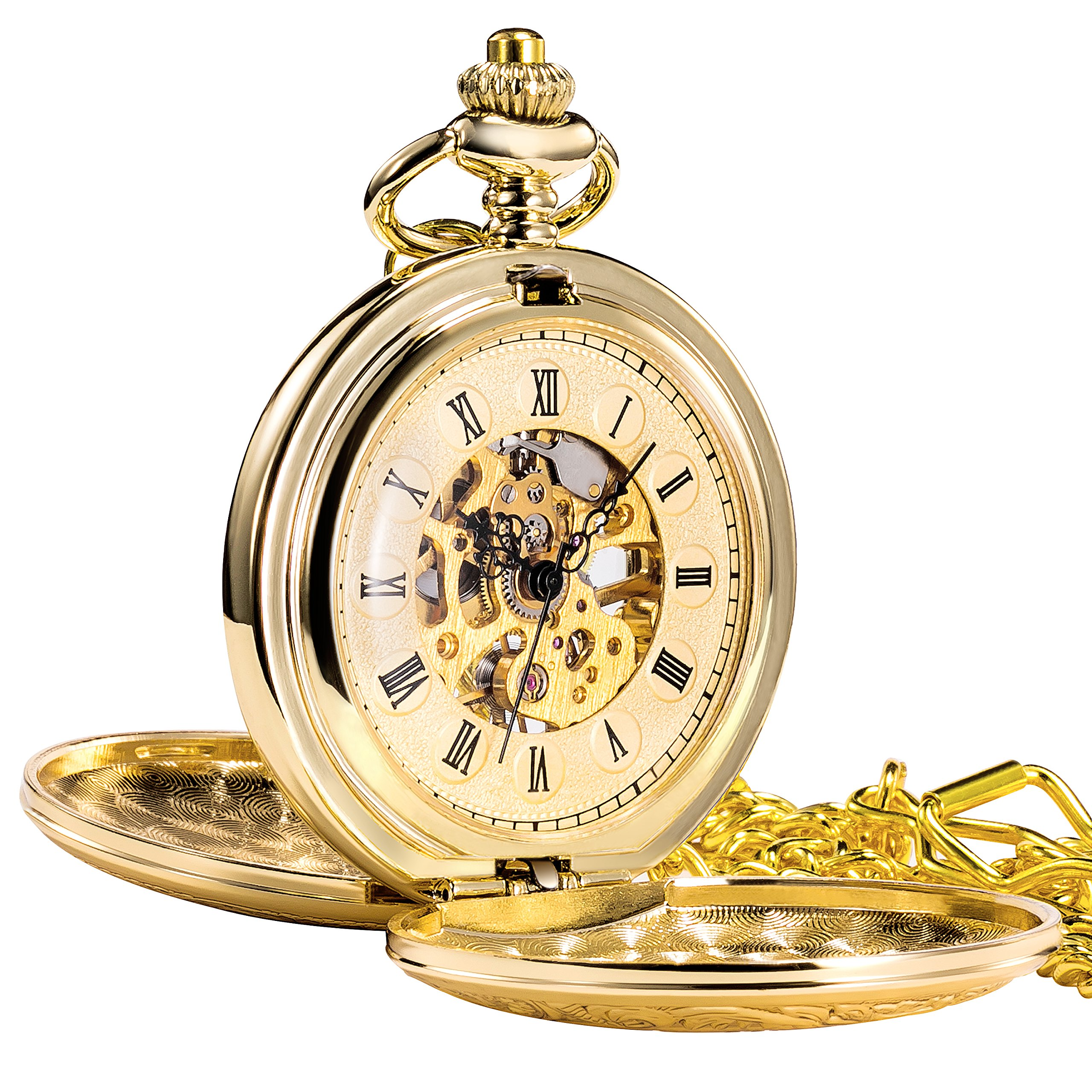TREEWETO Antique Mens Pocket Watch Skeleton Mechanical Half Hunter Golden Case Roman Numerals